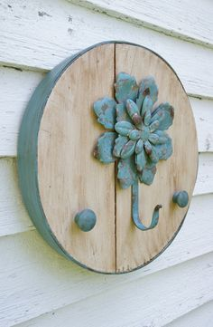 RePurposed+Cheese+Box+Lid+with+Teal+Flower+by+JCutrightArtStudio,+$34.00