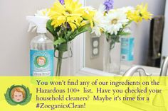 You won't find any of our ingredients on the Hazardous 100+ list.  Have you checked your cleaning products?  Time for a #ZoeganicsClean!