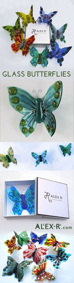 Glass Butterflies are unique three-dimensional artpieces for your wall. Mount a single standalone piece or create a fabulous wall installation in a kaleidoscope of colour. http://www.alex-r.com