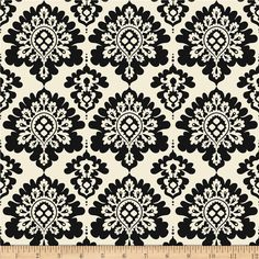 Riley Blake Lost & Found Christmas Damask Black from @fabricdotcom  Designed by My Mind's Eye for Riley Blake, this cotton print fabric is perfect for quilting, apparel and home decor accents. Colors include black and cream.