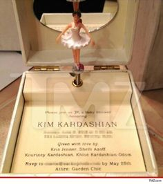 The invite to Kim K's baby shower is a fully functional music box, complete with a spinning ballerina ... dancing to a lullaby version of Kanye's 'Hey Mama'.  Not only is the invite playing the baby daddy's tune, but the ballerina bears a striking resemblance to Kim herself -- just in case anyone forgets who this party is REALLY celebrating.