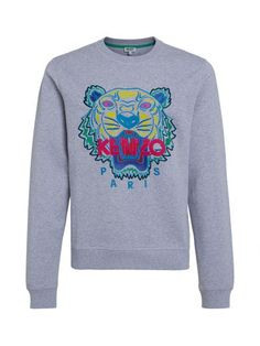 KENZO Kenzo Grey Melange Sweater With Multicolor Tiger. #kenzo #cloth #fleeces-tracksuits