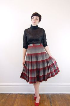 Reversible 1950s Skirt Pendleton Gray and Red Plaid by LoveCharles, $45.00