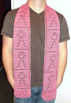 Breast Cancer Scarf, Crochet Breast Cancer Pink Scarf with Ruffles. $20.00, via Etsy.