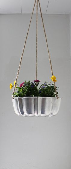 Shining Silver - UpCycled Bundt Cake Planter - Industrial Modern Reclaimed BootsNGus Hanging Flower Pot...or what about a fruit basket????