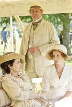 Downton Abbey Garden Party - Lady Cora recovering from recent fall and miscarriage, with husband Lord Grantham and daughter Lady Edith