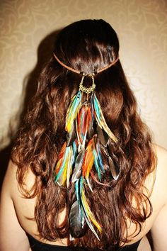 feather leather headband handmade hippie hair feathers