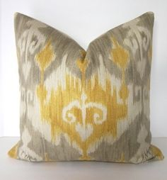 BOTH SIDES - Ikat Decorative Throw Pillow Cover - 20x20 inches - Grey - Gold - Yellow - Ivory - living room