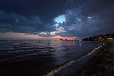 Πριν τη μπόρα Places To Visit, Celestial, Sunset, Dark, City, Beach, Water, Outdoor, Sunsets