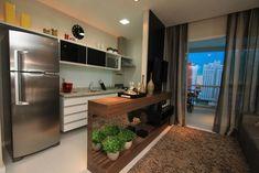 Cozinha integrada com sala de TV