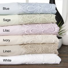 Perfect for guest rooms, this elegant sheet set has a lace border for added style. The sheets come in a variety of pastel colors to match your bedding, and they have a sateen weave, which will help keep you cool and comfortable while you sleep.