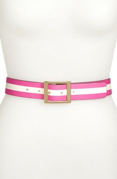 sweet and cute - pink striped leather belt by Kate Spade