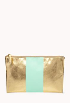 Striped Metallic Cosmetic Pouch