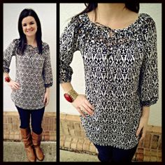 New black and white printed tunic that can be worn on or off the shoulder! Love this print and this length! Just in from Jade, this tunic is $88 and is available XS-XL. Put this back to black, denim or your favorite colored bottoms.