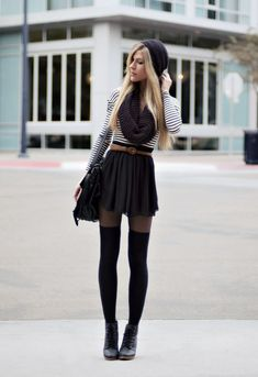Gorgeous young fashion outfit. The pull up sock imitation tights are great and we love the hat!