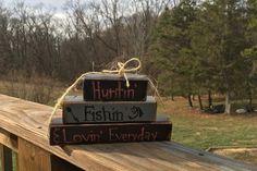 Huntin' Fishin' and Lovin' Everyday shelf stacker hunting fishing and loving everyday man cave man gift hunter outdoorsmen groomsmen retire by TanneryCreations on Etsy