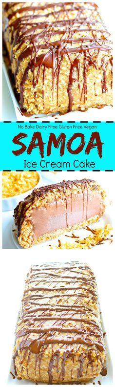 Dairy Free Samoa Ice Cream Cake Recipe (Gluten Free Vegan )- Crunchy toasted coconut, sweet caramel with cookie crumb bottom make this dairy free chocolate ice cream cake irresistible. Food Allergy friendly.