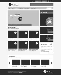 Wireframe of a fashion store website