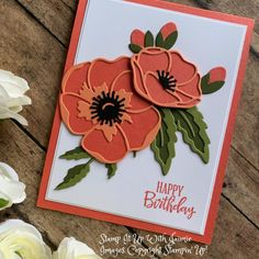 Stampin' Up! Poppy Moments Dies Card – Stamp It Up with Jaimie - Magnolia Handmade Birthday Cards, Greeting Cards Handmade, Poppy Cards, Bee Cards, Stamping Up Cards, Cards For Friends, Baby Kind, Card Making Inspiration, Sympathy Cards
