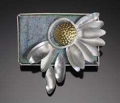 "Jan Smith - ""Loves Me"" Brooch in sterling silver, enamel on copper, and 22k gold bimetal."