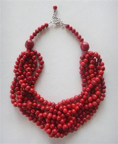 Carmen necklace (red). Made from acai seeds and bombona seeds.