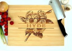 Personalized Cutting Board (Pictured in Natural), approx. 12 x 16 inches, Vintage Floral Last Name - Wedding Gift or Anniversary Gift Engraved Cutting Board, Personalized Cutting Board, Cutting Boards, Custom Wedding Gifts, Personalized Wedding Gifts, Gift Wedding, Custom Engraving, Laser Engraving, Holiday Gifts