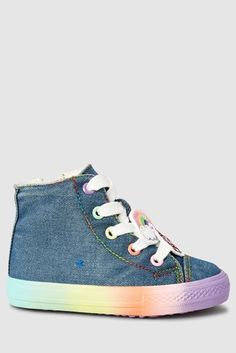 af53e96c2d Denim Rainbow High Top Trainers (Younger) Amelia Rose
