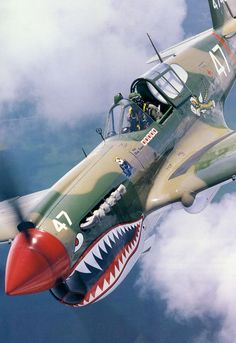 Curtiss P40 Warhawk - the plane renowned for it's duty flights in China with the Flying Tigers squadron.