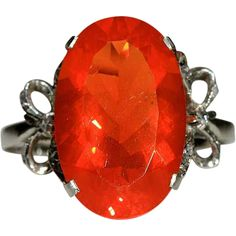 Art Deco Platinum 4.75ct Fire Opal Ring with Diamond Bows