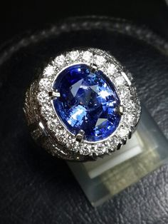 6.87ct ceylon blue sapphire gold diamond ring