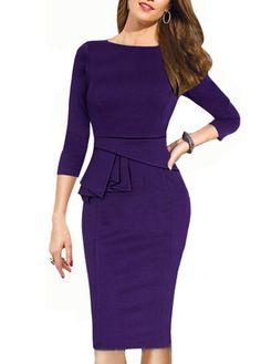 Stunning!! Glamorous Three Quarter Sleeve Purple Knee Length Dress