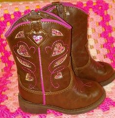 Cherokee Toddle Girls Sz 6 Cowgirl Boots Brown Pink Sparkle Western Shoes Cowboy