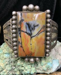 HUGE, Fred Harvey Era Sterling Silver & Petrified Wood SIGNED Bracelet, 63.2g #HandMadeNativeAmericanJewelry #Cuff Turquoise Flowers, Turquoise Cuff, Silver Cuff, Sterling Silver Bracelets, Petrified Wood, Stone Jewelry, Wood Signs, Black Silver, Navajo