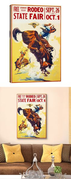 Hold on to your hats cowboys and cowgirls! Boasting a vintage-style giclée poster design, this Strawberry Roan Rodeo Canvas Print is the perfect accent for your Western-themed den or cool, rustic study...  Find the Strawberry Roan Rodeo Canvas Print, as seen in the Mid-Century Western Collection at http://dotandbo.com/collections/mid-century-western?utm_source=pinterest&utm_medium=organic&db_sku=118075