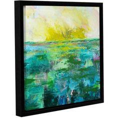 ArtWall Allan Friedlander Morning Dew Gallery-wrapped Floater-framed Canvas, Size: 18 x 18, Blue