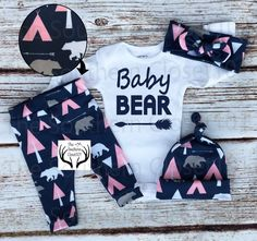 Baby Girl Coming home Outfit,Baby Bear,Baby Girl,Whie and Pink, Arrows,Teepees, Bears,Country Outfit,Newborn Girl Coming Home Outfit by TheSouthernCloset101 on Etsy https://www.etsy.com/listing/471262378/baby-girl-coming-home-outfitbaby