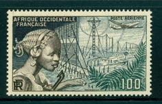 MNH-FRENCH-WEST-AFRICA-AOF-Scott-C#19-100Fr-Communication-CV-$6