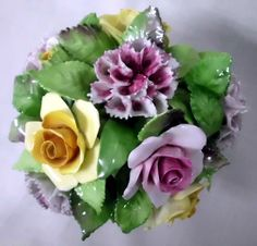 ENGLISH LARGE STAFFORDSHIRE BONE CHINA POSY FLOWERS CARNATIONS PINK YELLOW ROSE