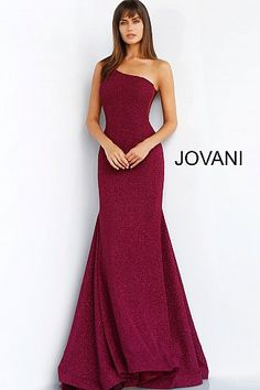 1bc9be19f2 Burgundy One Shoulder Fitted Glitter Evening Dress 57936
