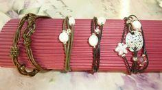 Pulseras de vueltas en cuero con perlas, zamak y swaroski