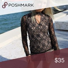 Long Sleeves Lace Dress Color: Black, Fabric: Lace, Content: 95% Polyester 5% Spandex, Neckline: Semi-Turtle Neck, Sleeve Length: Long Sleeves, Made In: USA Dresses Mini