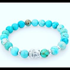 Turquoise buddha bracelet Beautiful turquoise beaded stretch bracelet! Hot seller!! Words To Live By Apparel Jewelry Bracelets