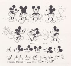 My favorite Mickey model sheet. I love his face expressions.