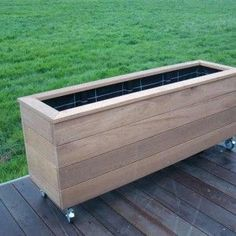 Deck Planters, Garden Planter Boxes, Wooden Garden Planters, Cedar Planters, Bamboo Garden, Backyard Projects, Garden Projects, Cerca Natural, Outdoor Fire