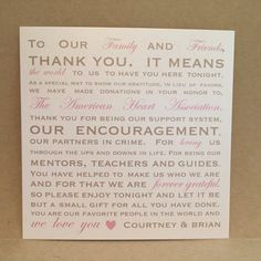 Donation Favor Thank You Wedding Reception Cards by MrsCasesShop