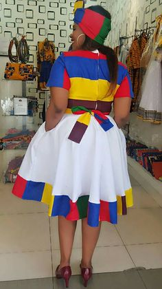 Ndebele dress - P&H Menlyn Mall Latest African Fashion Dresses, African Fashion Designers, African Dresses For Women, African Attire, Xhosa Attire, Sepedi Traditional Dresses, South African Traditional Dresses, Traditional Weddings, Traditional Design