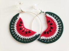 Crochet Watermelon Slices Cute Fruit Earrings, Tropical Beaded Hoop Earrings in Green and Red, Playful Summer Fruit Jewelry Crochet Jewelry Patterns, Crochet Earrings Pattern, Crochet Bracelet, Crochet Accessories, Crochet Designs, Cotton Crochet, Thread Crochet, Diy Earrings, Earrings Handmade