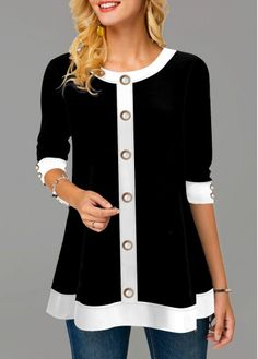 Women'S Black Three Quarter Sleeve Tunic Casual T Shirt Round Neck Button Front Top By Rosewe Button Front Three Quarter Sleeve Round Neck T Shirt – T-Shirts & Sweaters Stylish Tops For Girls, Trendy Tops For Women, Look Fashion, Trendy Fashion, Fashion Details, Womens Fashion, Casual T Shirts, Casual Outfits, Shirt Sale