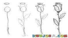 Como Dibujar Una Rosa En 4 Pasos Dibujo De Una Rosa Facil De Hacer | COLOREAR…