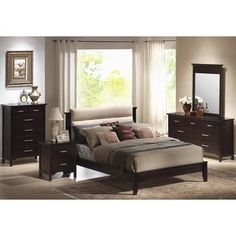 Coaster Kendra California King Platform Style Bed with Upholstered Microfiber Headboard - Coaster Fine Furniture